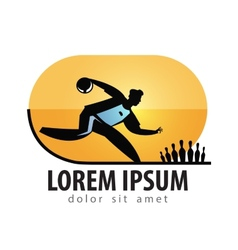 Bowling logo design template sports or vector image