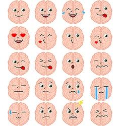 Cartoon brain emoji set vector image vector image