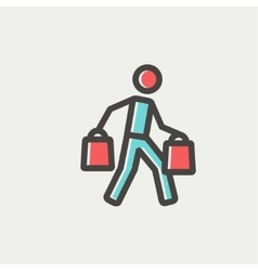 Man carrying shopping bags thin line icon vector image