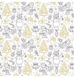 pattern with treesbirdssnowmen vector image vector image