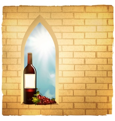 red wine bottle in arc window vector image vector image