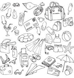 sea and travel set of sketch vector image vector image