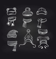 winter knitting accessories on blackboard vector image