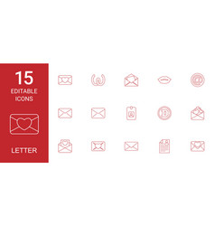 15 letter icons vector image