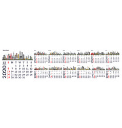 2020 monthly calendar with city skylines vector image