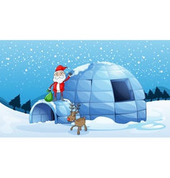 An igloo and a santa clause vector