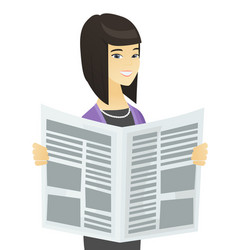 Asian business woman reading newspaper vector