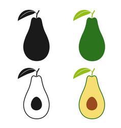 Avocado set icons vector