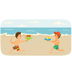 Boys shoot each other with water pistols kids vector