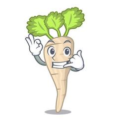 call me fresh organic parsnip vegetable cartoon vector image