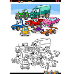 cartoon cars and vehicles coloring book page vector image