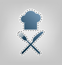 chef with knife and fork sign blue icon vector image