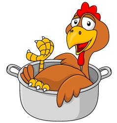 Chicken in the saucepan vector