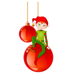 Christmas Elf Sitting On Ball vector image