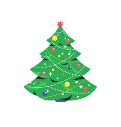 christmas tree icon isolated on white background vector image