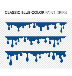 classic blue dripping paint set liquid drips vector image