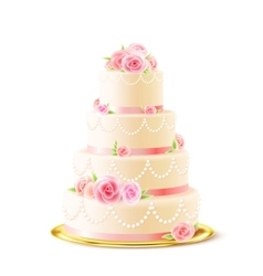 Classic wedding cake with roses realistic vector