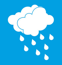 Clouds and water drops icon white vector