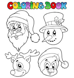 Coloring book christmas topic 8 vector