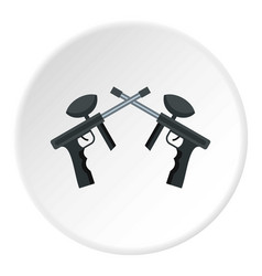 crossed paintball guns icon circle vector image