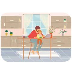 Dad feeds bawearing bib in kitchen kid sits on vector