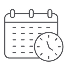 deadline thin line icon organizer and plan vector image