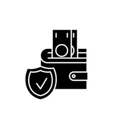 deposit insurance black icon sign on vector image
