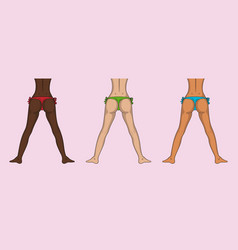 Different nations girls buttocks and legs sexy vector