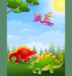 Dinosaurs cartoon in the jungle vector