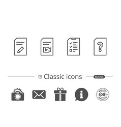 Document checklist and edit file line icons vector