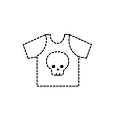Dotted shape rock t-shirt with skull design casul vector