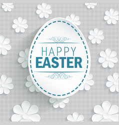 Easter egg on flowers background vector