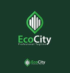 eco city design template logo iconic symbols vector image