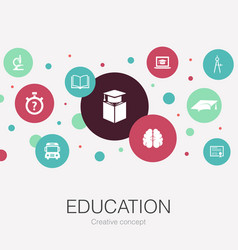 Education trendy circle template with simple icons vector