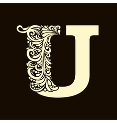 Elegant capital letter U in the style Baroque vector image