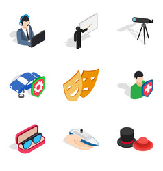 Experimental work icons set isometric style vector
