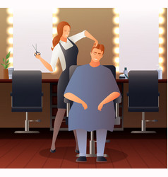 Female hairdresser flat composition vector
