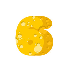 figure 6 cheese font numeral six of cheesy vector image