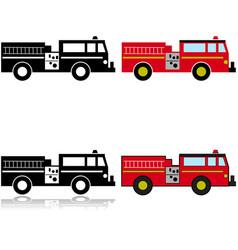 firetruck icon set vector image