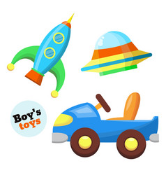 flat car rocket flying caucer toys set vector image vector image