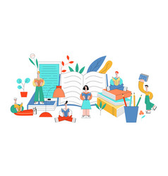 flat education concept people objects set vector image