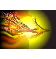 flying fiery bird vector image vector image