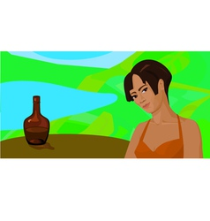 girl outdoors at a table with a bottle vector image