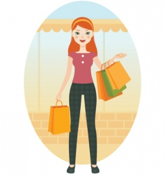 Girl with shopping vector