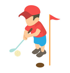 golfer icon isometric 3d style vector image