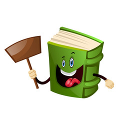 Green book holding a shovel on white background vector