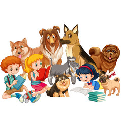 Group children with their dogs vector