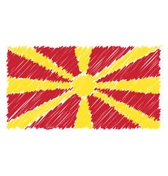 hand drawn national flag of macedonia isolated on vector image