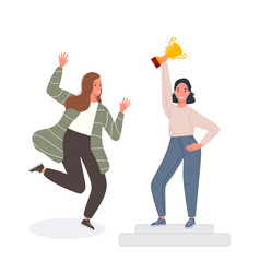 happy competition champions holding golden cup vector image