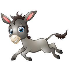 happy donkey cartoon running vector image